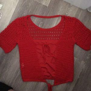 Honey punch red crochet top